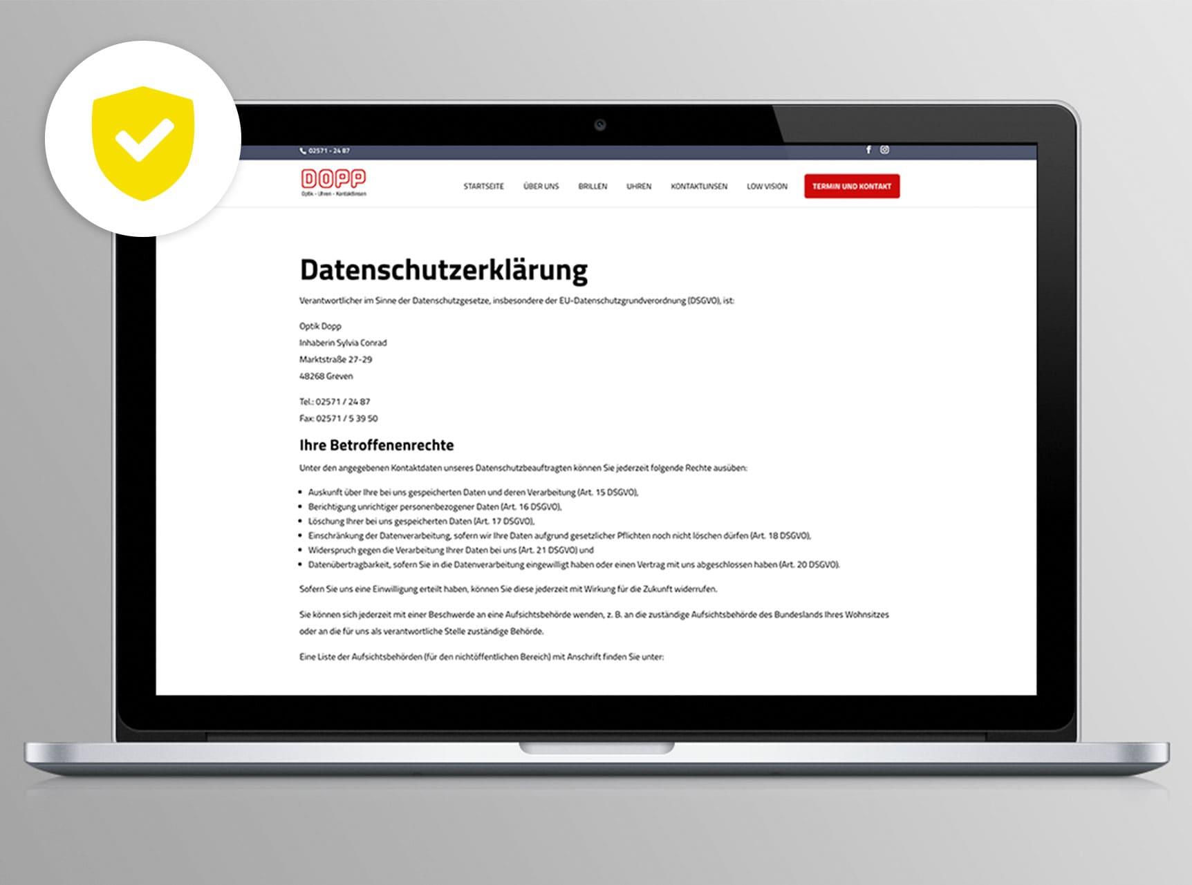 Bad Essen - Webdesign nach DSGVO-Bestimmungen